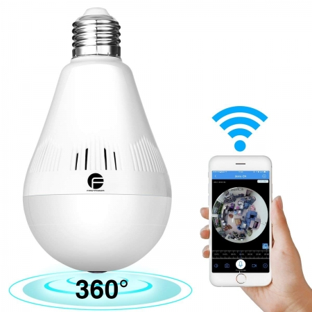 Wireless Light Bulb Hidden Camera with Night Vision