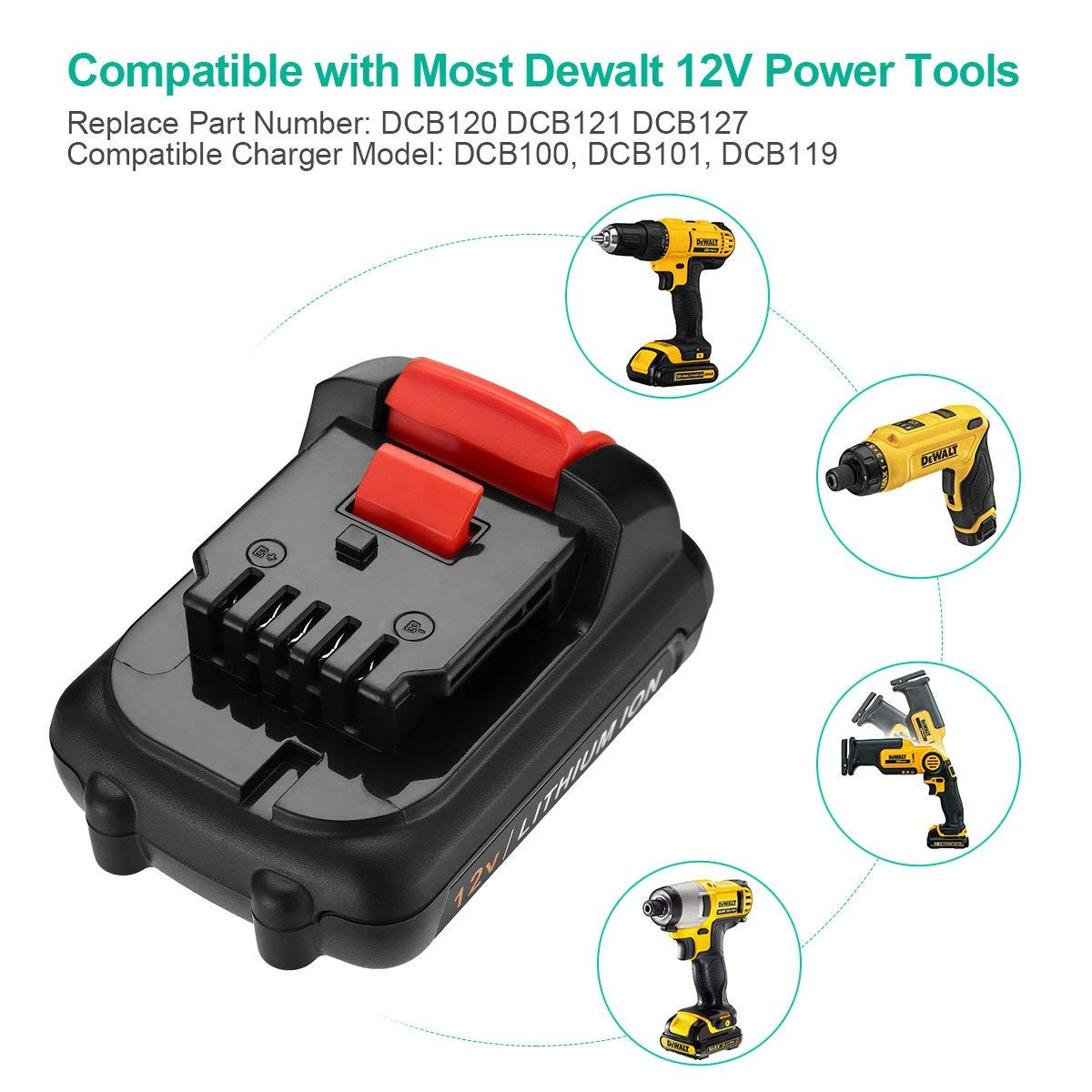 FirstPower 12V 4000mAh Replacement Lithium Battery for DeWalt DC